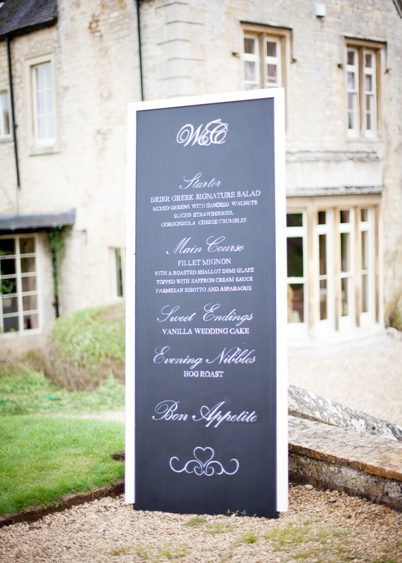 Menu Chalk board wedding