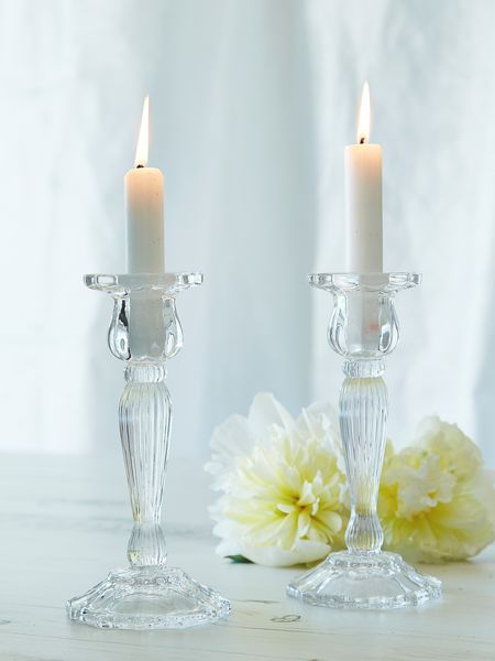 Hire vintage glass candle sticks