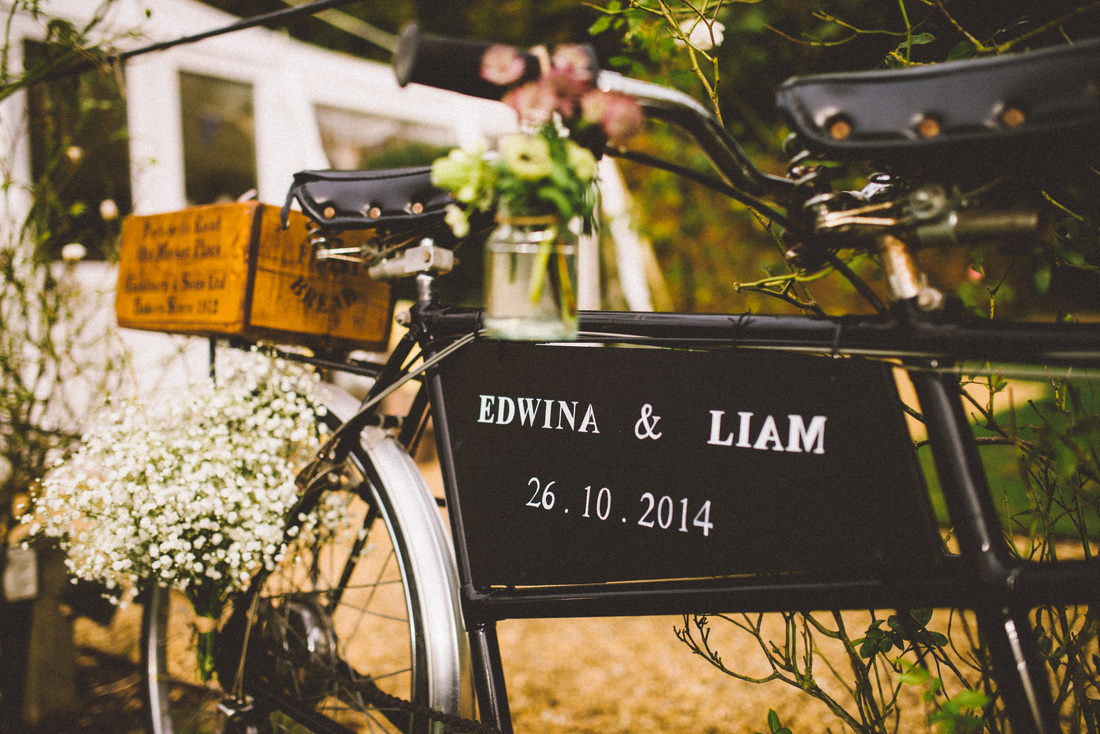 Tandem bike hire Nerissa Eve Weddings