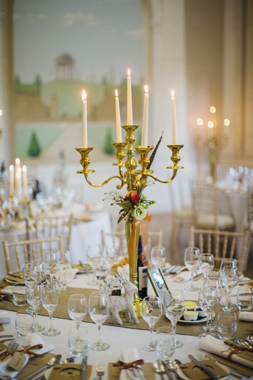 Gold candelabra Hire Nerissa Eve Weddings Ltd