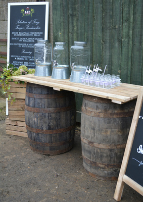 Nerissa Eve Weddings Whiskey barrel hire