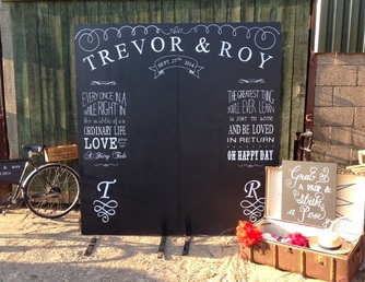 Large chalk board photo booth
