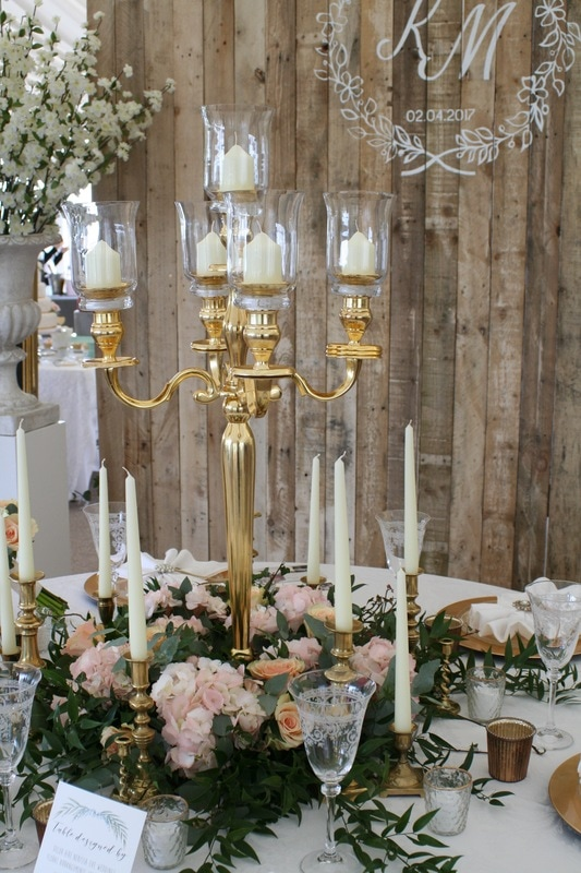 Gold candlestick hire, gold candelabra hire, gold accessories