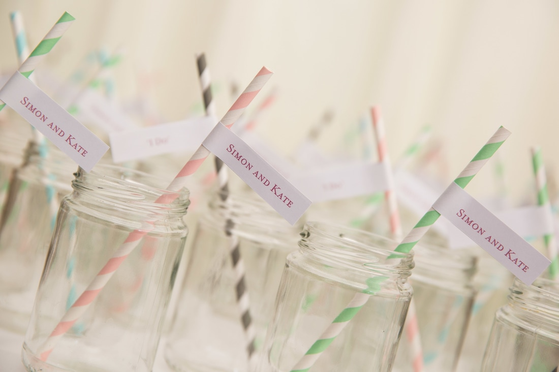 Nerissa Eve Weddings monogrammed straws