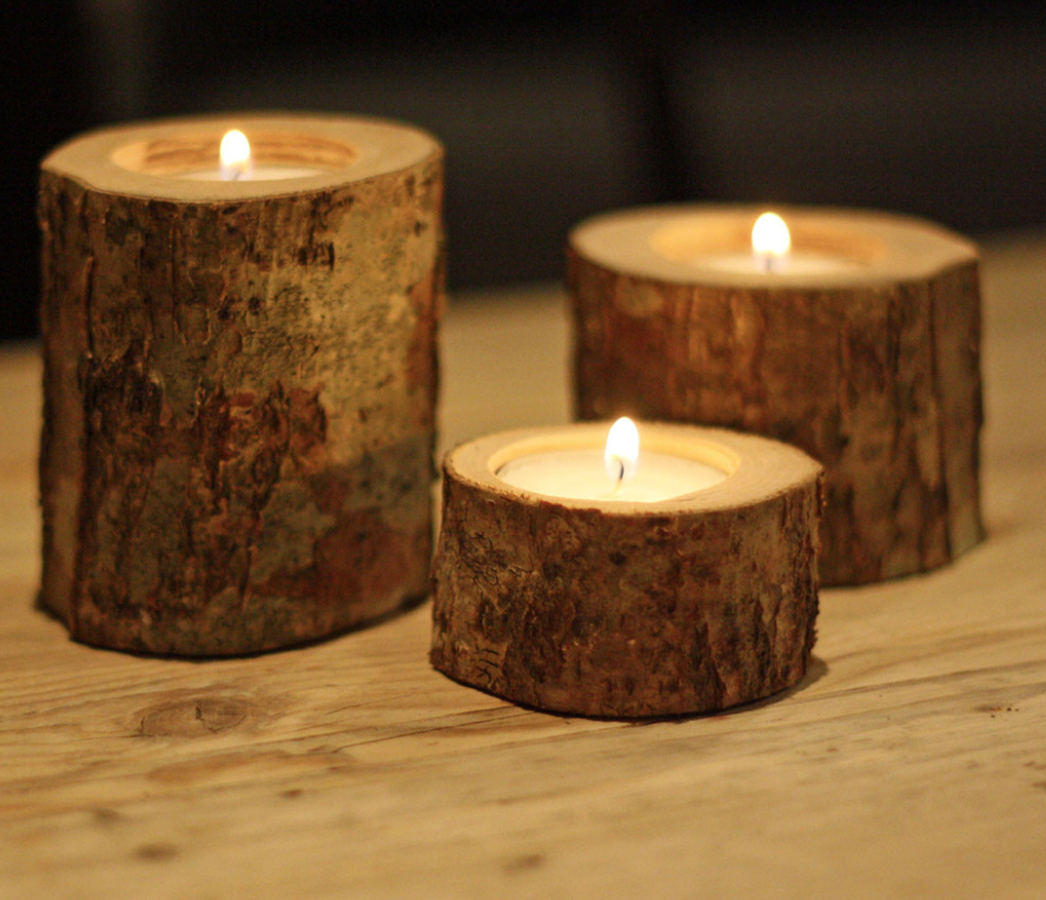 Tree stump candle holder